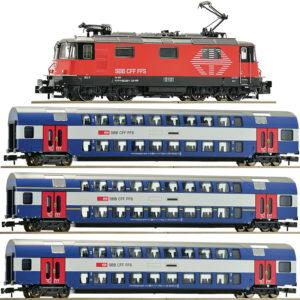 """Fleischmann 734007 SBB Re 420 202 """"LION"""" im Set mit 3 HVZ-Doppelstockwagen734007 SBB Re 420 mit 3 HVZ-Wagen"""