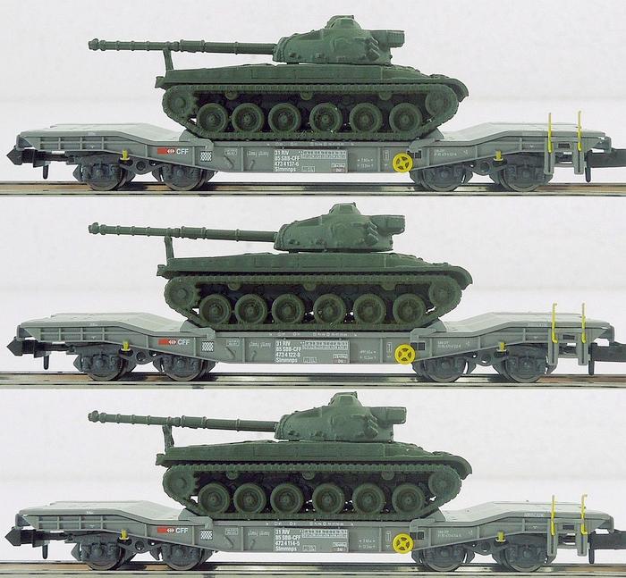 Piko 94400 SBB Slmmnps beladen mit Panzer 68, Set
