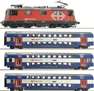 """Roco 61442 SBB Re 420 221 """"LION"""" im Set mit 3 HVZ-Doppelstockwagen"""