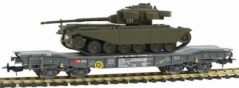 Piko 96680 SBB Panzertransportwagen, beladen