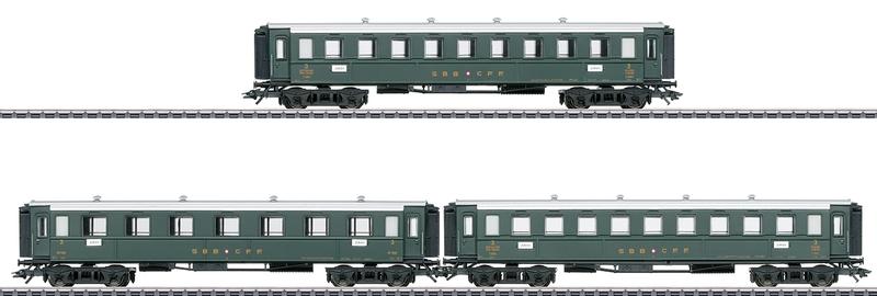 Märklin 42387 3-teiliges Gotthardbahn Personenwagenset älterer Bauart