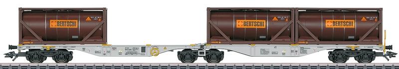 Märklin 474802 6-achsiger Container-Doppeltragwagen Bertschi AG