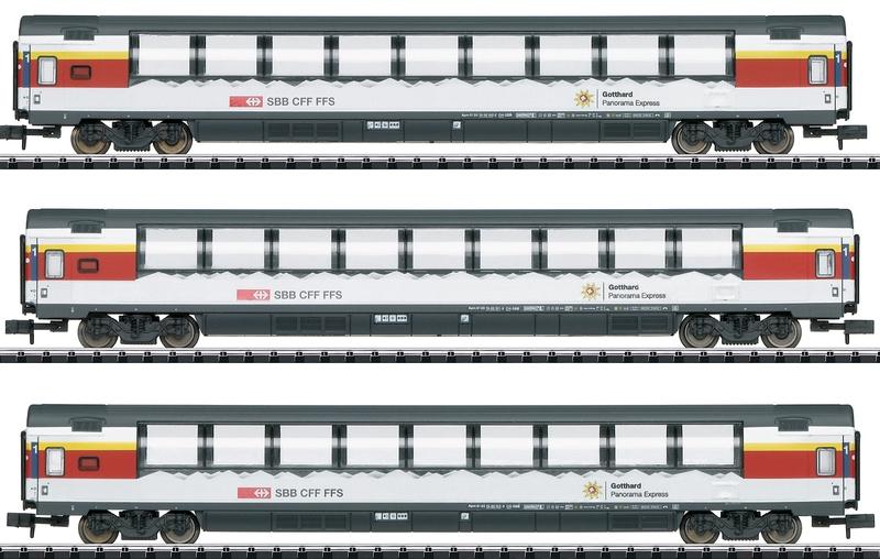 Minitrix 15674 3-teiliges Gotthard-Panorama-Express-Wagenset der SBB