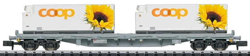 """Minitrix 15937 4-achsiger Flachwagen, beladen mit 2 Kühlcontainern """"COOP"""""""