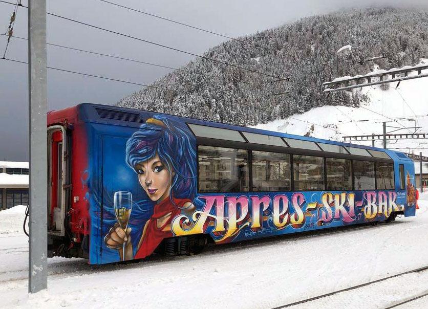 """Bemo 3288 298 MGB Bp 4028 """"Apres-Ski-Bar""""."""