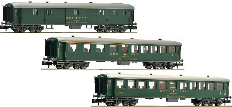 Fleischmann 881813 3-teiliges SBB Peronenwagen-Set, schwere Stahlbauart