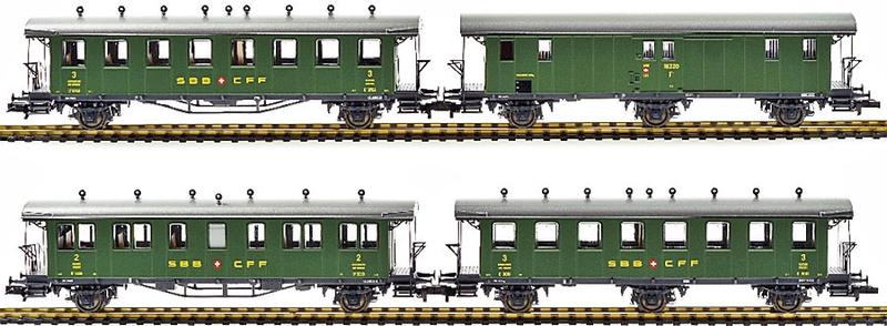 Liliput 330906 4-teiliges SBB Oldtimer Personenwagen-Sei, Ep III