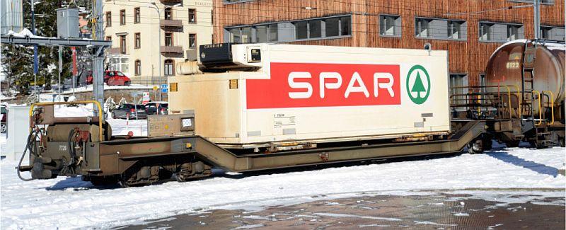 """Bemo 2289 116 Rhb Tiefladewagen Typ Sbk-v mit Kühlcontainer """"Spar"""""""