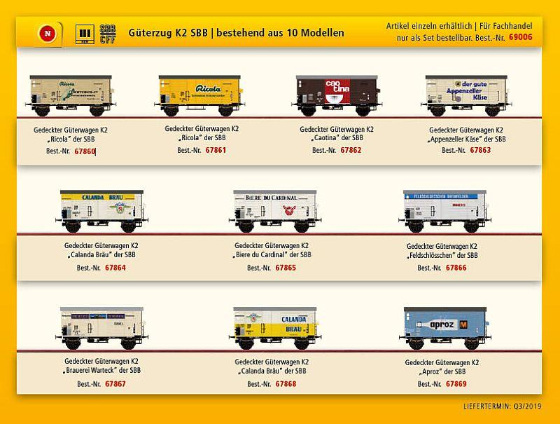 Brawa 69006 10-teiliges SBB K2 Güterwagenset