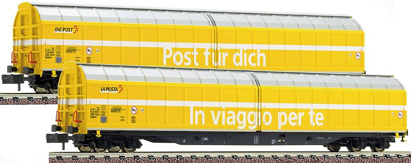 """Fleischmann 838312 2-teiliges Grossraum-Schiebewandwagen der Wascosa, vermietet an """"Die Post"""""""