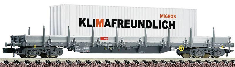 Fleischman 828823 SBB 4-achsiger Rungenwagen, mit 40' Container Migros