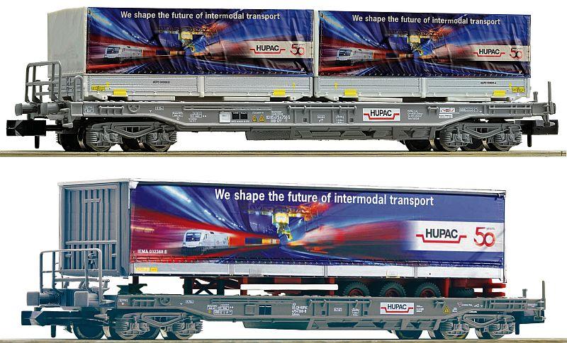 """Fleischmann 845321 2-teiliges Taschenwagen-Set, mit Aufliger """"50 Jahre HUPAC"""""""
