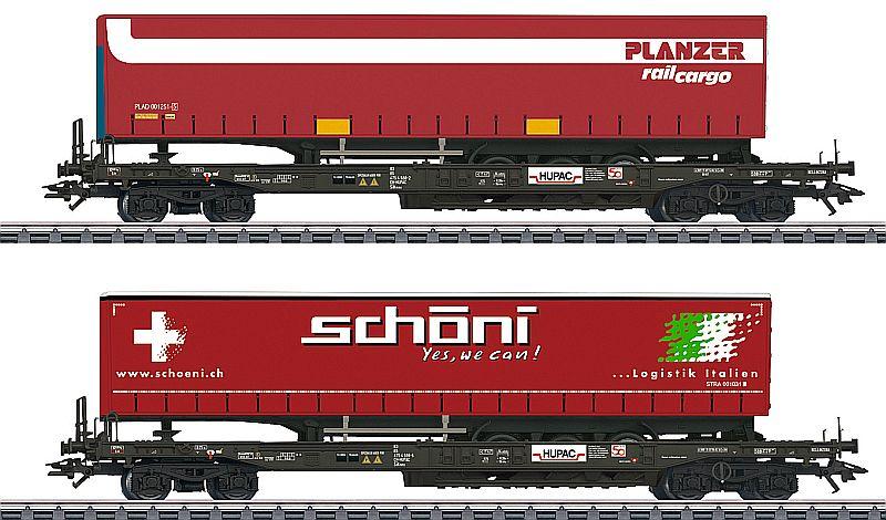 Märklin 47115 2-teiliges Taschenwagen-Set, Schöni und Planzer.