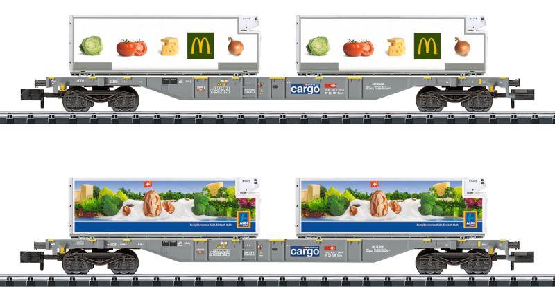 "Minitrix 15488 2-teiliges Container-Tragwagen-Set ""Lebensmittel-transport"""