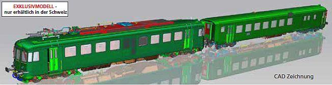 piko 94164 2er Set SBB RBe 4-4 1461 und BDt EW I grün