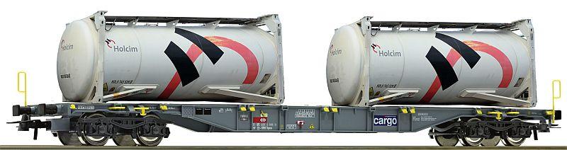 Roco 76943 SBb Containertragwagen, mit 2 Tankcontainern der Fa. Holcim AG