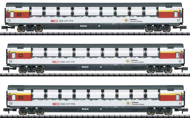 Minitrix 15674 3-teiliges Personenwagen-Set Apm der SBB (GoPEX)